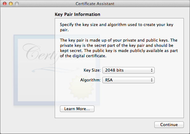 KeyPair Information.